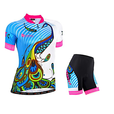 Nuckily Fahrradtriktot mit Fahrradhosen Damen Kurzarm Fahhrad Gepolsterte Shorts Trikot/Radtrikot Shorts/Laufshorts Kleidungs-Sets