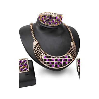 Mulheres Conjunto de jóias Conjunto de Jóias - Banhado a Ouro 18K Preto, Roxo, Vermelho