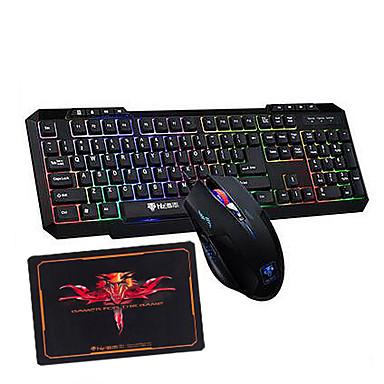 Regenbogen-Hintergrundbeleuchtung Multimedia-Gaming-Tastatur 2400dpi USB-Gaming-Maus und Pad 3 Stücke ein Satz
