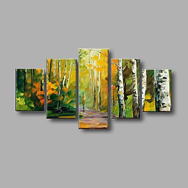 handgemalte Herbstlandschaft Wandkunst Hauptdekor dicke Ölgemälde auf Segeltuch 5pcs / set mit gestreckten Rahmen