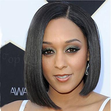 Synthetische Perücken Glatt Synthetische Haare Schwarz Perücke Damen Kurz Kappenlos