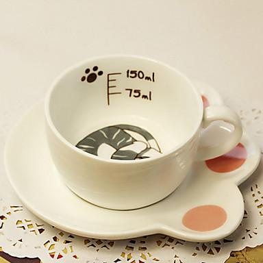 szép szürke macska bögre kávét csésze