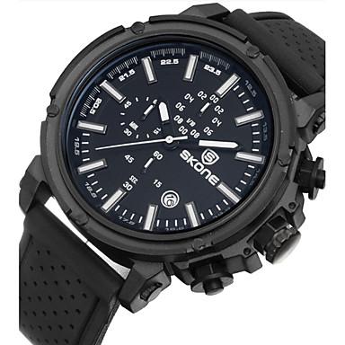 Herren Armbanduhr Quartz Silikon Band Schwarz Marke-