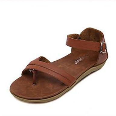 Kényelmes / Nyitott orrú-Lapos-Női cipő-Szandál-Szabadidős / Alkalmi-Fordított bőr-Fekete / Barna