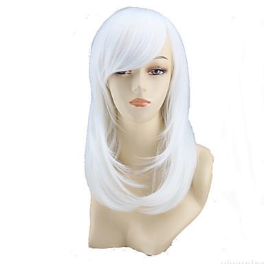 Syntetiske parykker Rett / Naturlige bølger Asymmetrisk frisyre Syntetisk hår Naturlig hårlinje Hvit Parykk Dame Medium / Mellemlængde