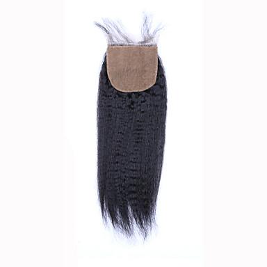 8 12 14 16 18 20inch Koromfekete (#1B) Kézi készített Göndör egyenes Emberi haj Bezárás Világos barna Svájci csipke 45 gramm ÁtlagosCap