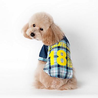 Katze Hund T-shirt Hundekleidung Plaid/Karomuster Blau Rosa Baumwolle Kostüm Für Haustiere Herrn Damen Lässig/Alltäglich