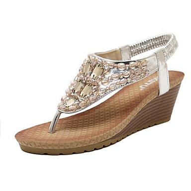 Damen Schuhe Kunstleder Sommer Komfort Keilabsatz Glitter für Normal Kleid Silber Golden