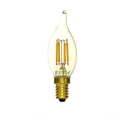 100-200 lm E14 LED gyertyaizzók C35 4 LED gyöngyök COB Tompítható / Dekoratív Meleg fehér 220-240 V