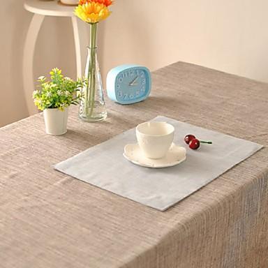 ריבוע משובץ כיסויי שולחן , פשתן / כותנה מעורבת חוֹמֶר שולחן Dceoration