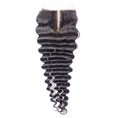 PANSY Mély hullám Csipke 4x4 lezárása 100% kézi csomózású Svájci csipke Emberi haj Ingyenes rész Közel rész 3. rész