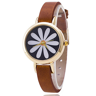 Damen Modeuhr Quartz Armbanduhren für den Alltag Leder Band Schwarz Braun