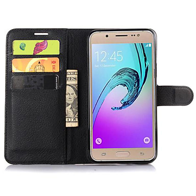 Etui Käyttötarkoitus Samsung Galaxy Samsung Galaxy kotelo Korttikotelo Lomapkko Tuella Flip Suojakuori Yhtenäinen väri PU-nahka varten J7