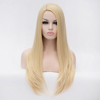Syntetiske parykker Rett Syntetisk hår Blond Parykk Dame Lang Halloween parykk / Karneval Parykk Lokkløs