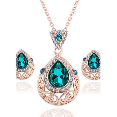 Feminino Conjunto de Jóias Colar / Brincos Cristal Cristal Strass Rosa Folheado a Ouro Imitações de Diamante Liga Caído Colares Brincos