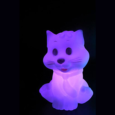 que mudam de cor criativo da luz colorida LED noite pequeno gato