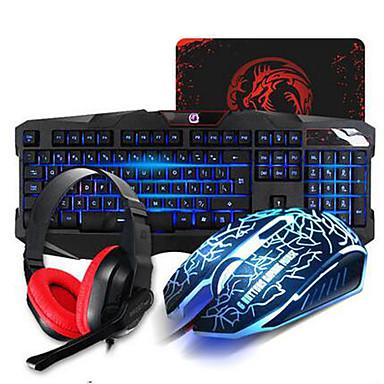 Gaming-Tastatur mit Kabel Maus Stirnband und Pad-Kit optische Multimedia-Profi-Set wasserdicht 4 Stücke ein Satz