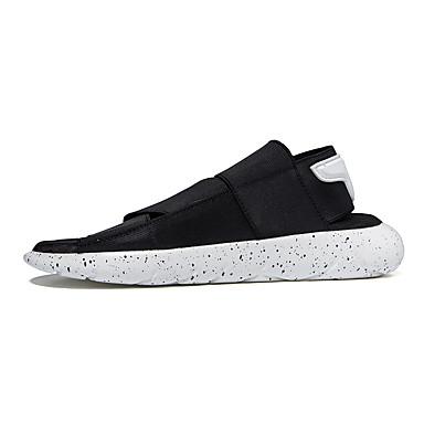 Unissex Sapatos Couro Ecológico Primavera Verão Outono Sandálias Caminhada Rasteiro Velcro Para Casual Preto Roxo Branco/Preto