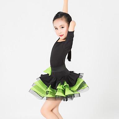 בגדי ריקוד לילדים שמלות בגדי ריקוד ילדים ביצועים ספנדקס פוליאסטר קפלים קשת (תות) חלק 1 חצי שרוול שמלה