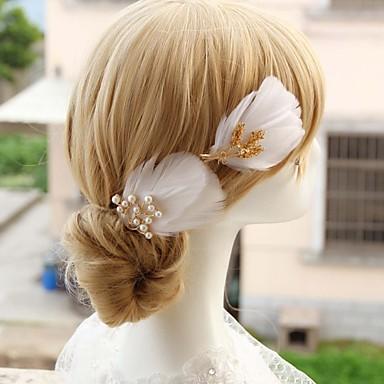 Damen Blumenmädchen Feder Legierung Künstliche Perle Kopfschmuck-Hochzeit Besondere Anlässe Haarklammer 1 Stück