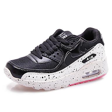 נשים נעליים דמוי עור אביב קיץ סתיו חורף נוחות ריצה שרוכים עבור שחור ולבן ורוד ירוק בהיר ירוק כהה