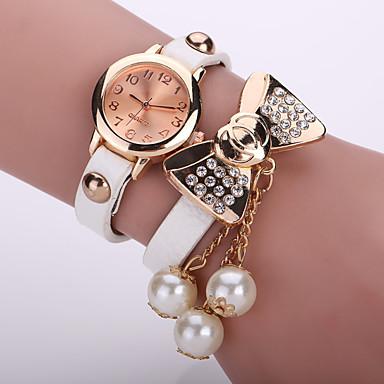 Damen Modeuhr Armband-Uhr Quartz Leder Band Blume Schwarz Weiß Blau Orange Braun Rosa Braun Rot Grün Rosa Hellblau