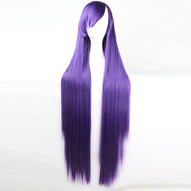 Syntetiske parykker / Kostymeparykker Rett Asymmetrisk frisyre Syntetisk hår Naturlig hårlinje Lilla Parykk Dame Lang Cosplay-parykk