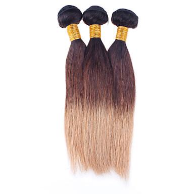 Emberi haj Brazil haj Az emberi haj sző Egyenes Póthajak 3 darab Fekete / Strawberry Blonde