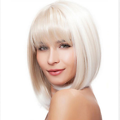 Perucas sintéticas Liso Sem Touca Mulheres Branco Curto