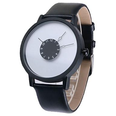 Herren Armbanduhr Quartz Leder Band Schwarz Weiß Weiß Schwarz Weiß/Schwarz