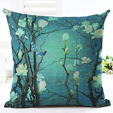 1 Pcs Linen Pillow Case Floral Novelty Accent Decorative
