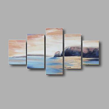 handbemalte abstrakte Seestück Wandkunstausgangsdekor-Ölgemälde auf Segeltuch 5pcs / set mit gestreckten Rahmen