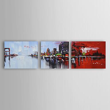 Handgemalte AbstraktModern Drei Paneele Leinwand Hang-Ölgemälde For Haus Dekoration