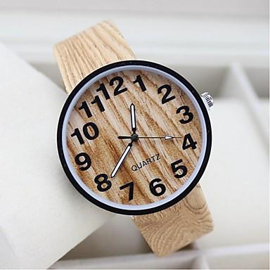 baratos Relógios Senhora-Homens Mulheres Casal Relógio de Pulso Quartzo Preta / Branco / Bege Relógio Casual Analógico Amuleto Fashion Madeira Relógio Criativo Único - Branco Preto Bege