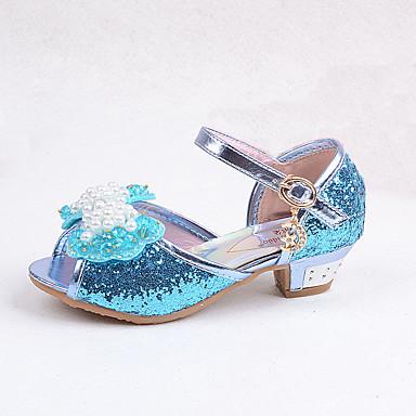 Jente Sko Glitter Sommer Komfort Lysende sko Høye hæler Lav hæl Krystall Sløyfe Paljett Imitasjonsperle Hekte til Bryllup Avslappet