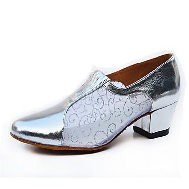 Mulheres Sapatos de Dança Moderna Couro Salto Salto Robusto Personalizável Sapatos de Dança Cinzento / Prateado / Dourado / Espetáculo