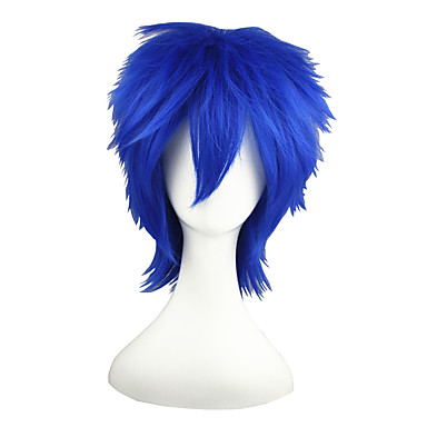 פאות סינתטיות ישר כחול שיער סינטטי כחול פאה ללא מכסה כחול