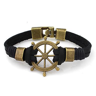 Homme Couple Manchettes Bracelets Cuir Nylon Alliage Mode Noir Brun claire Bijoux 1pc