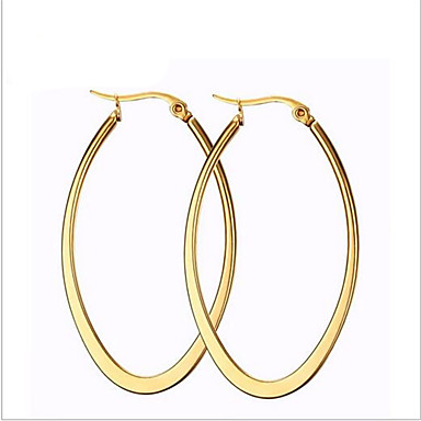 6591f4924 Women's Hoop Earrings 18K Gold Plated Titanium Steel Earrings Fashion  everyday Jewelry Golden For Party Daily Casual