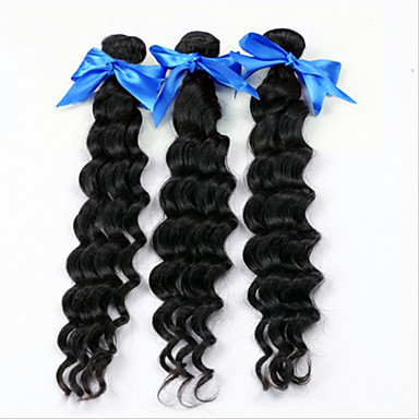 טווה שיער אדם שיער ברזיאלי גל עמוק 18 חודשים 3 חלקים שוזרת שיער