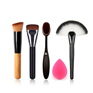 Holz der Fächerpinsel Make-up Zahnbürste Foundation-Pinsel Reinigungsbürste Ei und kleine Make-up Schwamm putzen