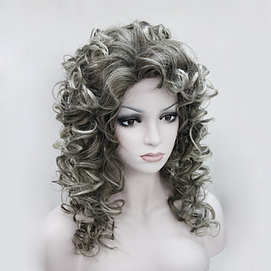 Sentetik Peruklar Bukle Yoğunluk Bonesiz Kadın's Gri Karnaval Peruk Cadılar Bayramı Peruk Orta Sentetik Saç