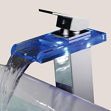 Moderne Mittellage Wasserfall Keramisches Ventil Ein Loch Einhand Ein Loch Chrom, Waschbecken Wasserhahn