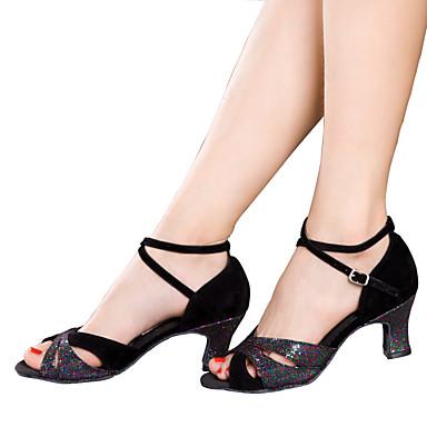 baratos Sapatos de Salsa-Mulheres Sapatos de Dança Glitter / Veludo Sapatos de Dança Latina / Sapatos de Salsa Gliter com Brilho / Fru-Fru / Franzido Sandália / Salto Salto Cubano Não Personalizável Preto / Prateado / Azul