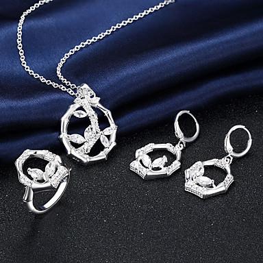 דמוי פנינה Circle Shape כסף שרשראות עגילים Rings ל חתונה Party יומי קזו'אל 3pcs מתנות חתונה
