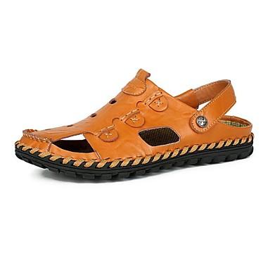 Hombre Zapatos Cuero de Napa Primavera / Verano / Otoño Confort Tacón Plano Negro / Marrón