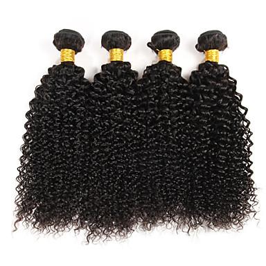 4 paquetes Extensiones de Pelo Natural Cabello Brasileño Kinky Curly Tejido rizado Pelo natural virgen Tejidos Humanos Cabello El cabello humano teje Color natural / Kinky rizado