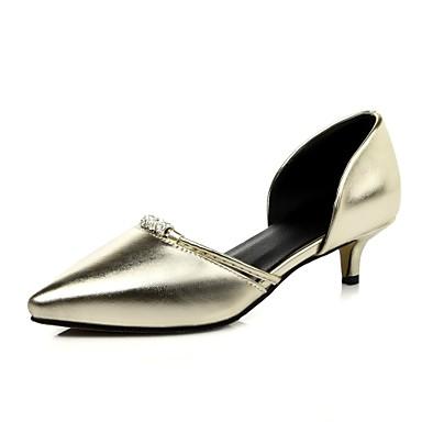 Kényelmes / Hegyes orrú-Cicasarok-Női cipő-Szandál-Irodai / Alkalmi-Gyapjú / PU-Zöld / Rózsaszín / Ezüst / Arany