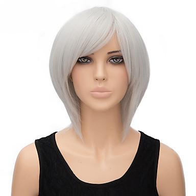 צבע אפור בלי כומתה, באיכות קצרה באורך גבוהה פאה סינטתית ישר טבעית