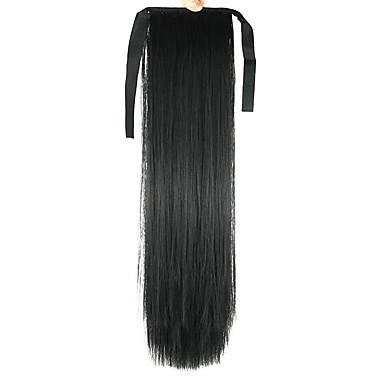 Noir Droite Queue-de-cheval Synthétique Pièce de cheveux Extension des cheveux